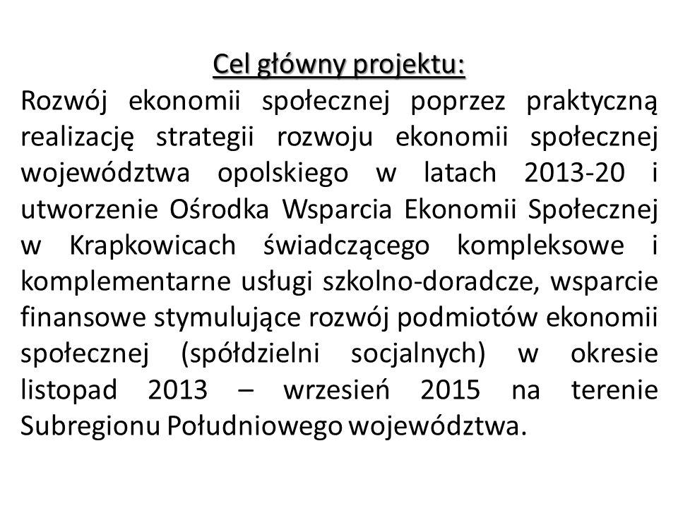 Cel główny projektu: Rozwój ekonomii społecznej poprzez praktyczną realizację strategii rozwoju ekonomii społecznej województwa opolskiego w latach 20