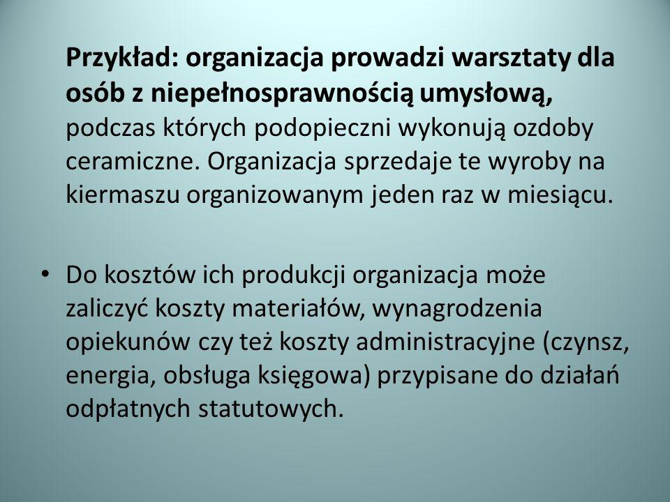 Przykład: organizacja prowadzi warsztaty dla osób z niepełnosprawnością umysłową, podczas których podopieczni wykonują ozdoby ceramiczne. Organizacja
