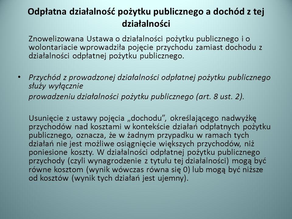 Odpłatna działalność pożytku publicznego a dochód z tej działalności Znowelizowana Ustawa o działalności pożytku publicznego i o wolontariacie wprowad