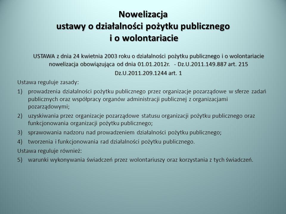 Nowelizacja ustawy o działalności pożytku publicznego i o wolontariacie USTAWA z dnia 24 kwietnia 2003 roku o działalności pożytku publicznego i o wol