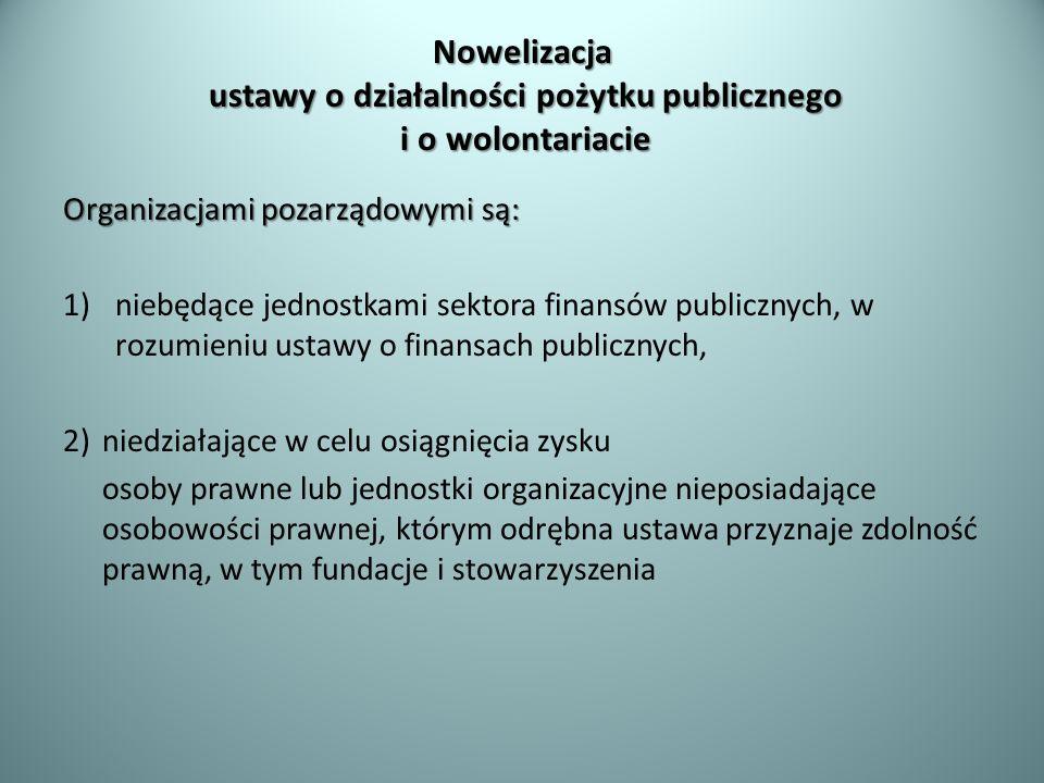 Nowelizacja ustawy o działalności pożytku publicznego i o wolontariacie Organizacjami pozarządowymi są: 1)niebędące jednostkami sektora finansów publi