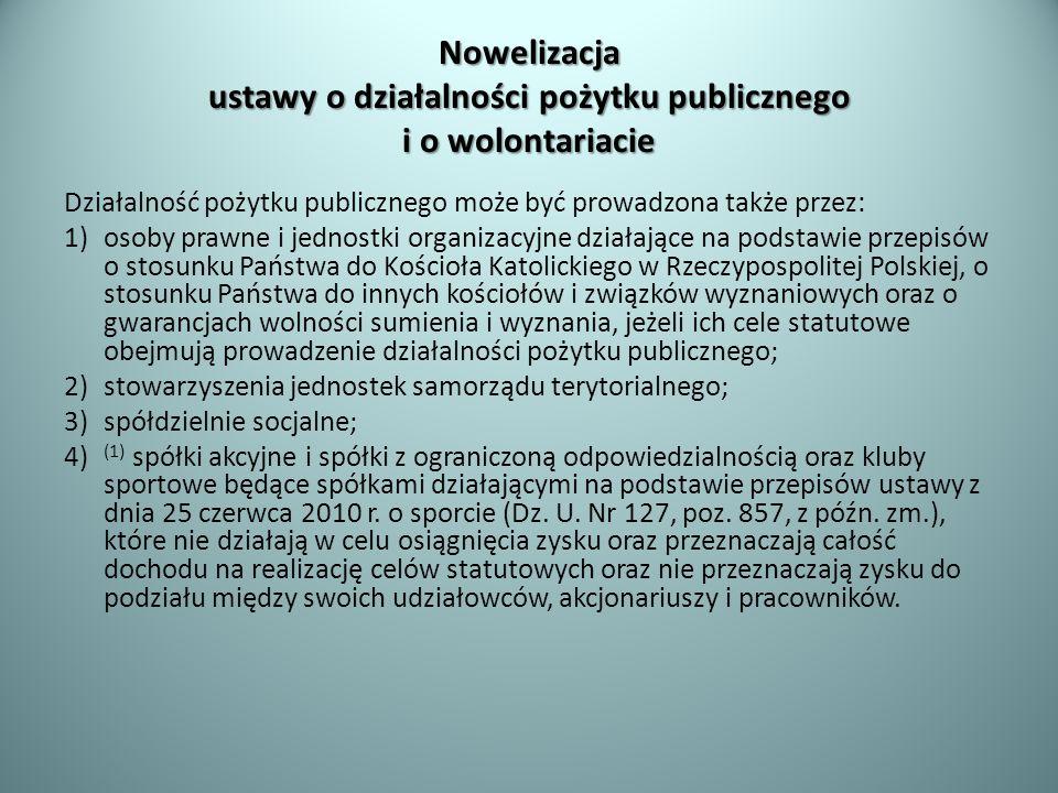 Nowelizacja ustawy o działalności pożytku publicznego i o wolontariacie Działalność pożytku publicznego może być prowadzona także przez: 1)osoby prawn