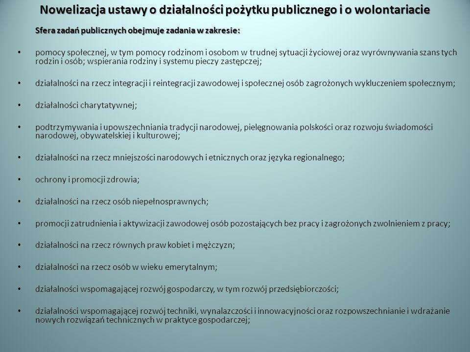 Nowelizacja ustawy o działalności pożytku publicznego i o wolontariacie Sfera zadań publicznych obejmuje zadania w zakresie: pomocy społecznej, w tym