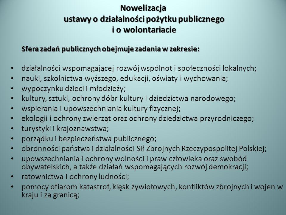 Nowelizacja ustawy o działalności pożytku publicznego i o wolontariacie Sfera zadań publicznych obejmuje zadania w zakresie: działalności wspomagające