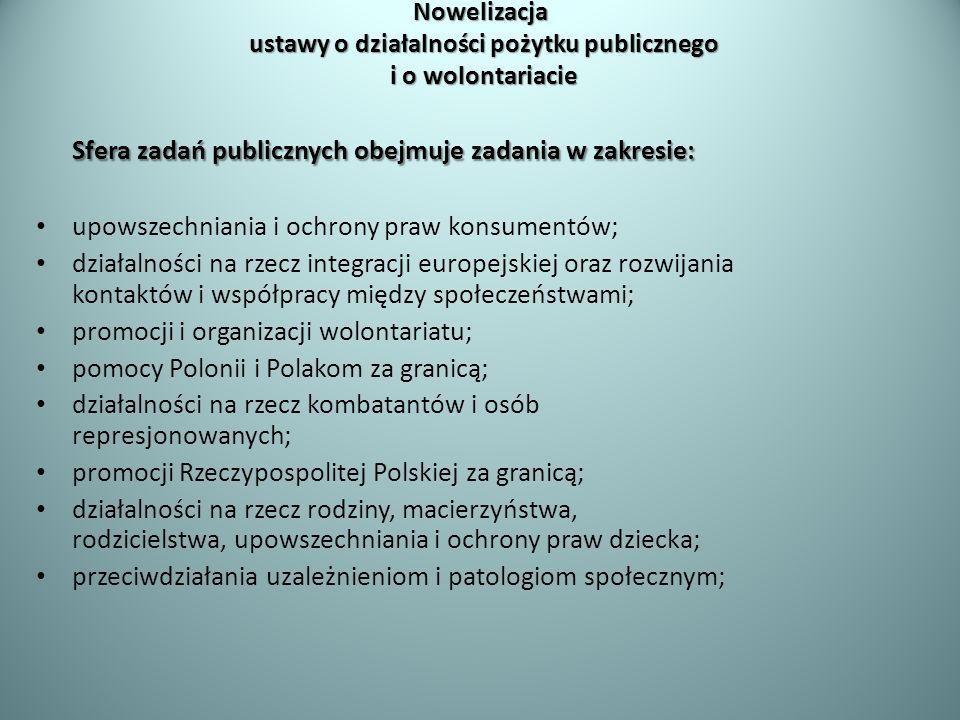 Nowelizacja ustawy o działalności pożytku publicznego i o wolontariacie Sfera zadań publicznych obejmuje zadania w zakresie: upowszechniania i ochrony