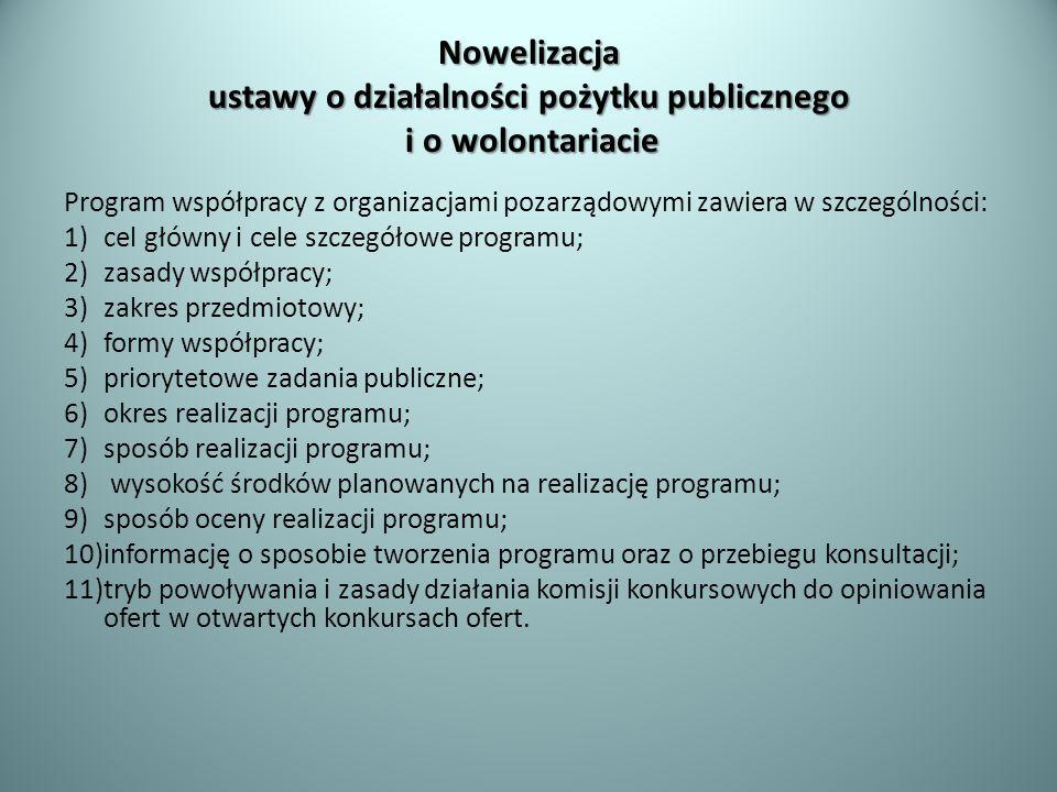 Nowelizacja ustawy o działalności pożytku publicznego i o wolontariacie Program współpracy z organizacjami pozarządowymi zawiera w szczególności: 1)ce