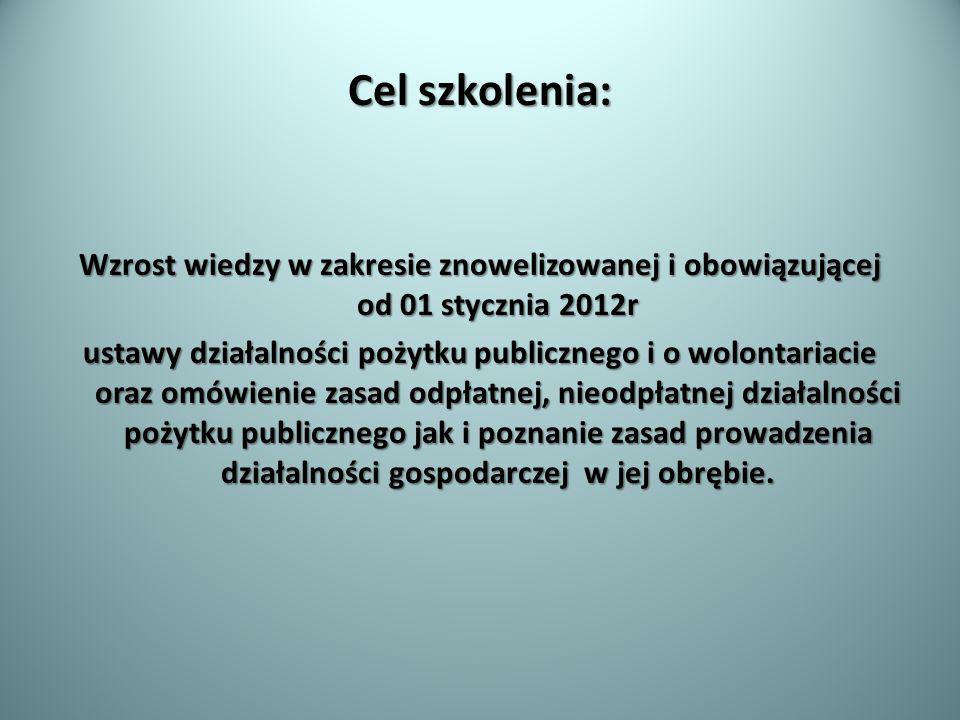 Cel szkolenia: Wzrost wiedzy w zakresie znowelizowanej i obowiązującej od 01 stycznia 2012r ustawy działalności pożytku publicznego i o wolontariacie