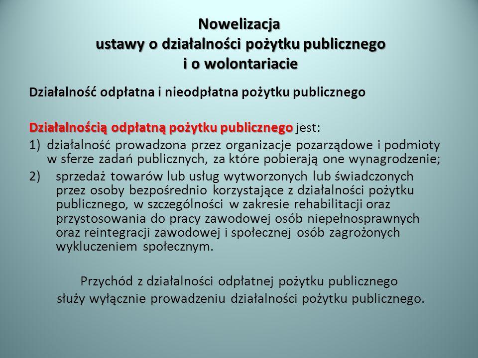 Nowelizacja ustawy o działalności pożytku publicznego i o wolontariacie Działalność odpłatna i nieodpłatna pożytku publicznego Działalnością odpłatną
