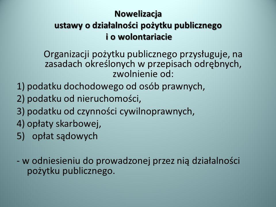 Nowelizacja ustawy o działalności pożytku publicznego i o wolontariacie Organizacji pożytku publicznego przysługuje, na zasadach określonych w przepis