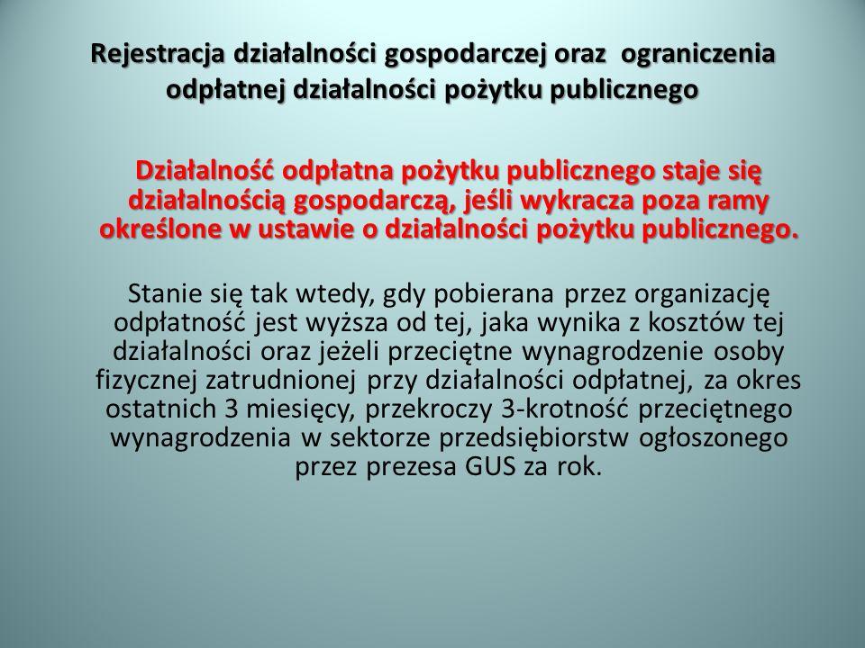 Rejestracja działalności gospodarczej oraz ograniczenia odpłatnej działalności pożytku publicznego Działalność odpłatna pożytku publicznego staje się