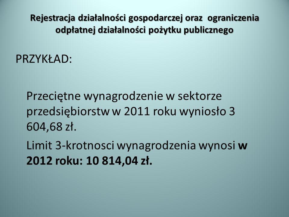Rejestracja działalności gospodarczej oraz ograniczenia odpłatnej działalności pożytku publicznego PRZYKŁAD: Przeciętne wynagrodzenie w sektorze przed
