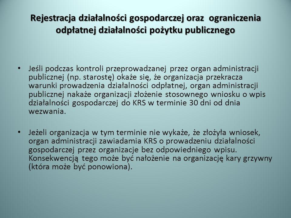 Rejestracja działalności gospodarczej oraz ograniczenia odpłatnej działalności pożytku publicznego Jeśli podczas kontroli przeprowadzanej przez organ