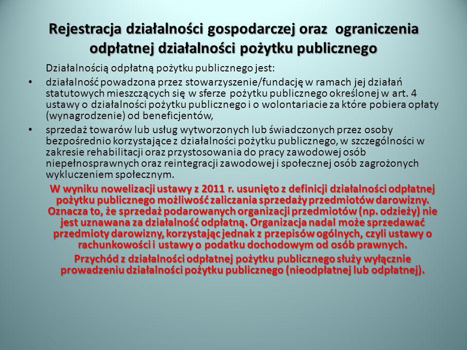 Rejestracja działalności gospodarczej oraz ograniczenia odpłatnej działalności pożytku publicznego Działalnością odpłatną pożytku publicznego jest: dz