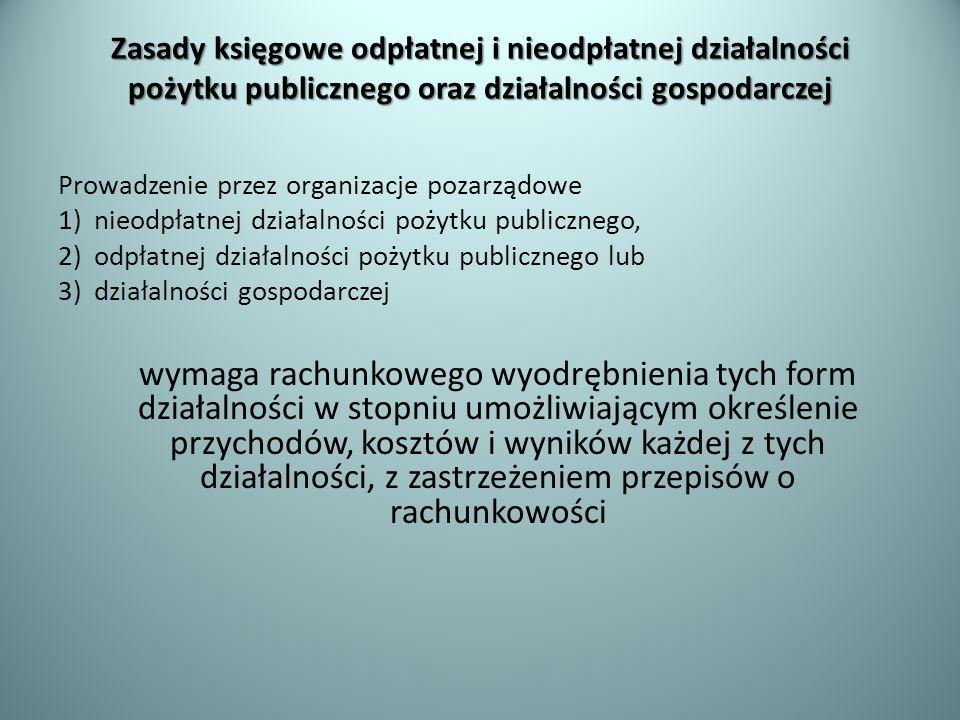 Zasady księgowe odpłatnej i nieodpłatnej działalności pożytku publicznego oraz działalności gospodarczej Prowadzenie przez organizacje pozarządowe 1)n