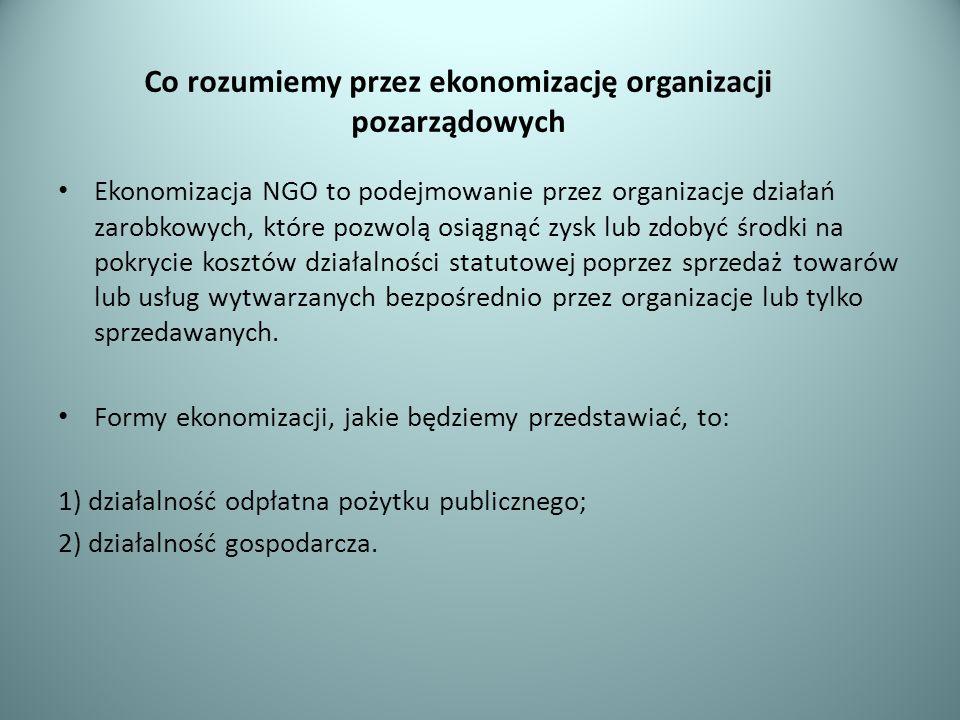 Co rozumiemy przez ekonomizację organizacji pozarządowych Ekonomizacja NGO to podejmowanie przez organizacje działań zarobkowych, które pozwolą osiągn
