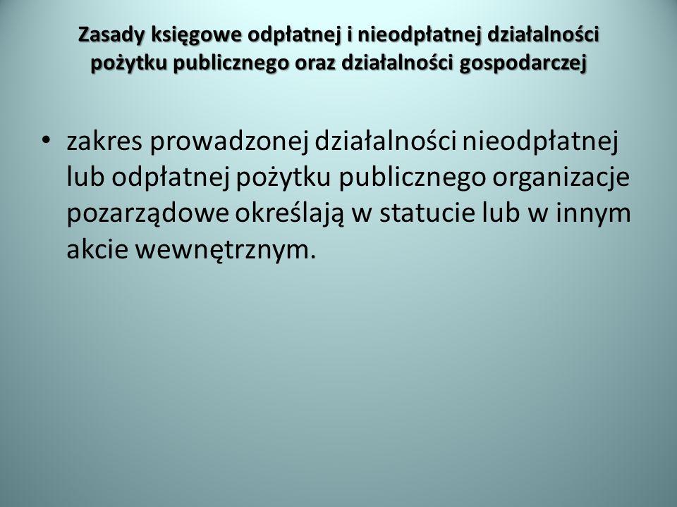 Zasady księgowe odpłatnej i nieodpłatnej działalności pożytku publicznego oraz działalności gospodarczej zakres prowadzonej działalności nieodpłatnej