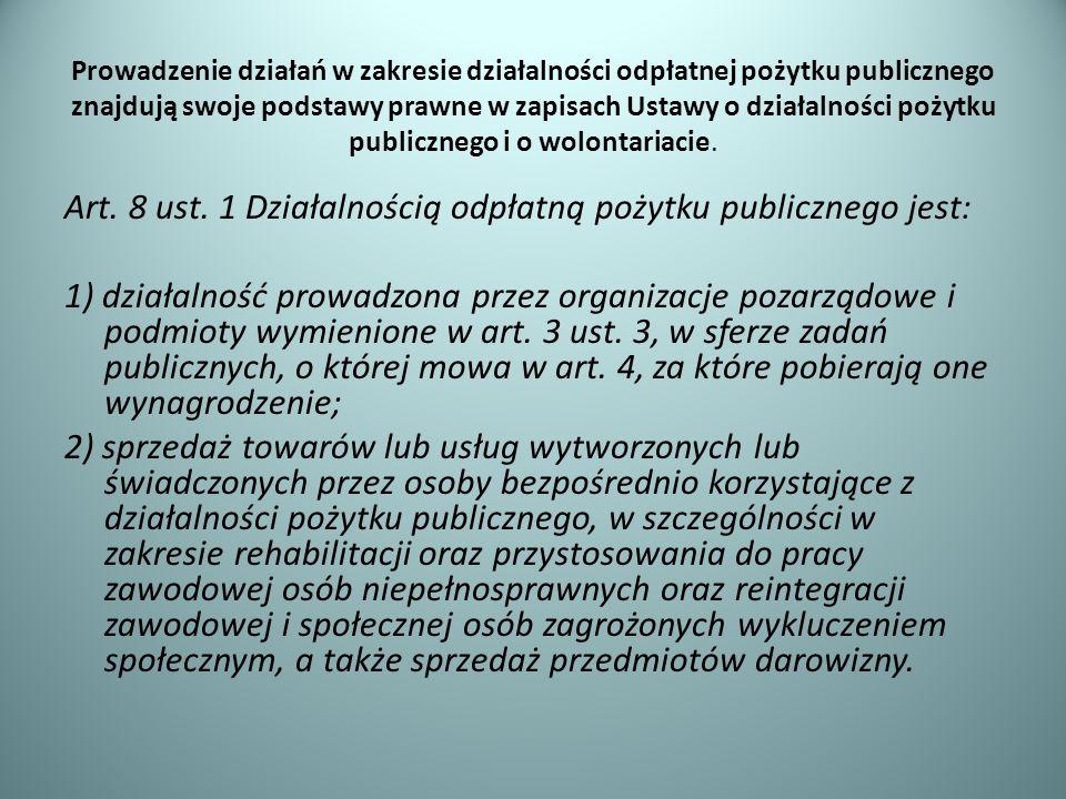 Prowadzenie działań w zakresie działalności odpłatnej pożytku publicznego znajdują swoje podstawy prawne w zapisach Ustawy o działalności pożytku publ