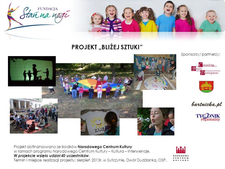 PROJEKT BLIŻEJ SZTUKI Projekt dofinansowano ze środków Narodowego Centrum Kultury w ramach programu Narodowego Centrum Kultury – Kultura – Interwencje.