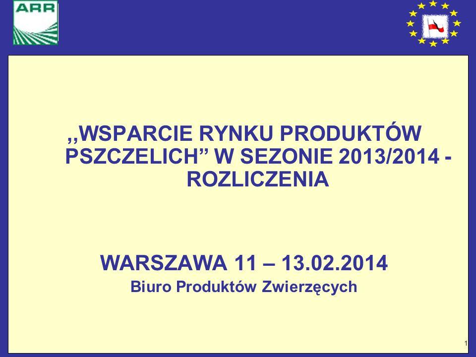 1,,WSPARCIE RYNKU PRODUKTÓW PSZCZELICH W SEZONIE 2013/2014 - ROZLICZENIA WARSZAWA 11 – 13.02.2014 Biuro Produktów Zwierzęcych