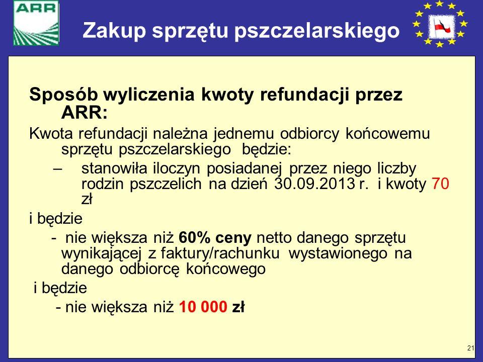 21 Zakup sprzętu pszczelarskiego Sposób wyliczenia kwoty refundacji przez ARR: Kwota refundacji należna jednemu odbiorcy końcowemu sprzętu pszczelarsk
