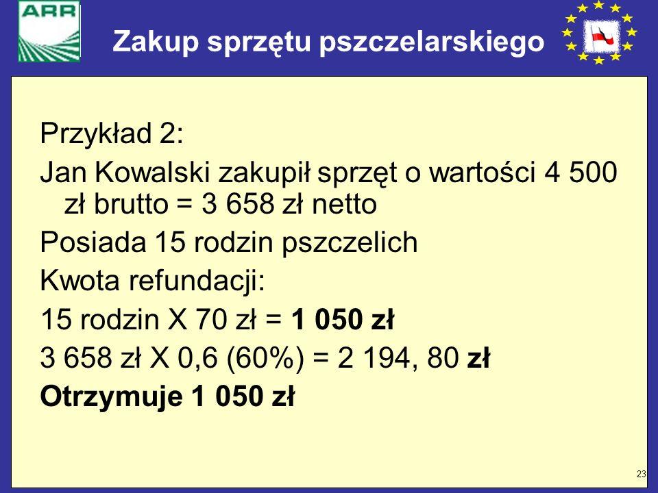 23 Zakup sprzętu pszczelarskiego Przykład 2: Jan Kowalski zakupił sprzęt o wartości 4 500 zł brutto = 3 658 zł netto Posiada 15 rodzin pszczelich Kwot