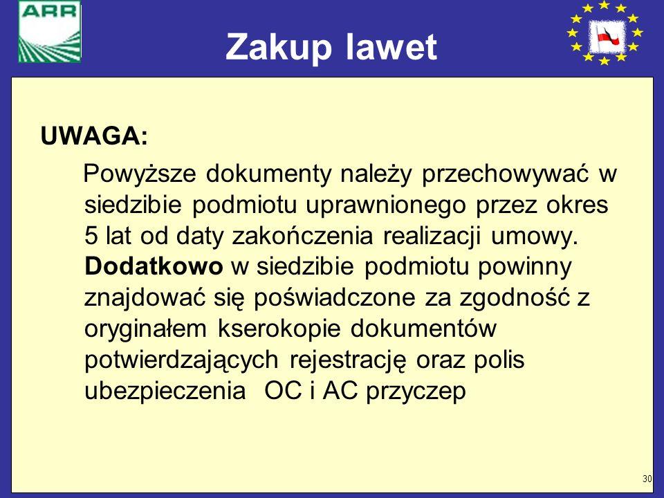 30 Zakup lawet UWAGA: Powyższe dokumenty należy przechowywać w siedzibie podmiotu uprawnionego przez okres 5 lat od daty zakończenia realizacji umowy.