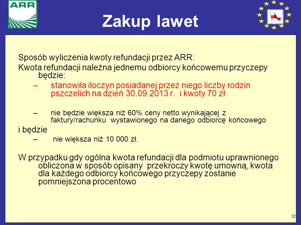 32 Zakup lawet Sposób wyliczenia kwoty refundacji przez ARR: Kwota refundacji należna jednemu odbiorcy końcowemu przyczepy będzie: –stanowiła iloczyn