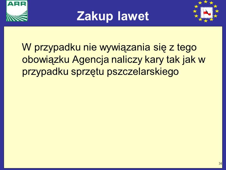 34 Zakup lawet W przypadku nie wywiązania się z tego obowiązku Agencja naliczy kary tak jak w przypadku sprzętu pszczelarskiego