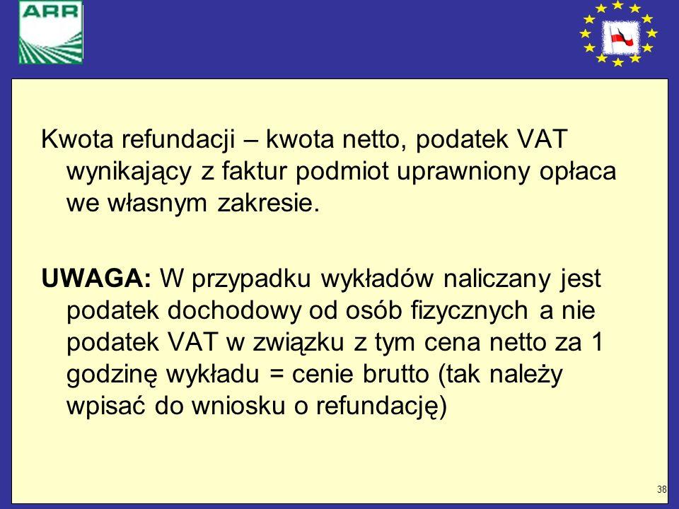 38 Kwota refundacji – kwota netto, podatek VAT wynikający z faktur podmiot uprawniony opłaca we własnym zakresie. UWAGA: W przypadku wykładów naliczan