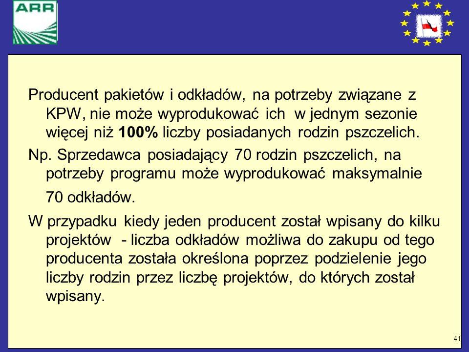 41 Producent pakietów i odkładów, na potrzeby związane z KPW, nie może wyprodukować ich w jednym sezonie więcej niż 100% liczby posiadanych rodzin psz