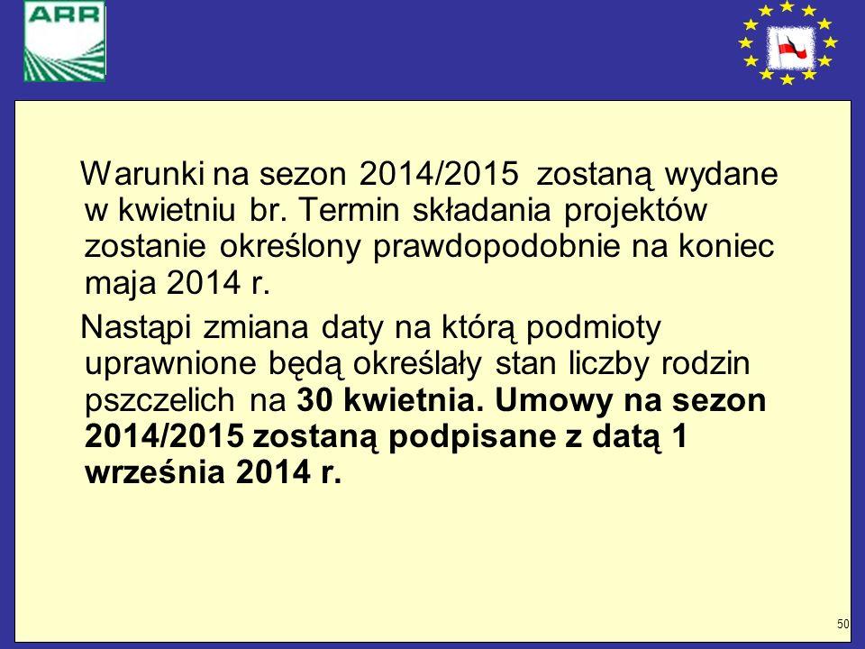 50 Warunki na sezon 2014/2015 zostaną wydane w kwietniu br. Termin składania projektów zostanie określony prawdopodobnie na koniec maja 2014 r. Nastąp