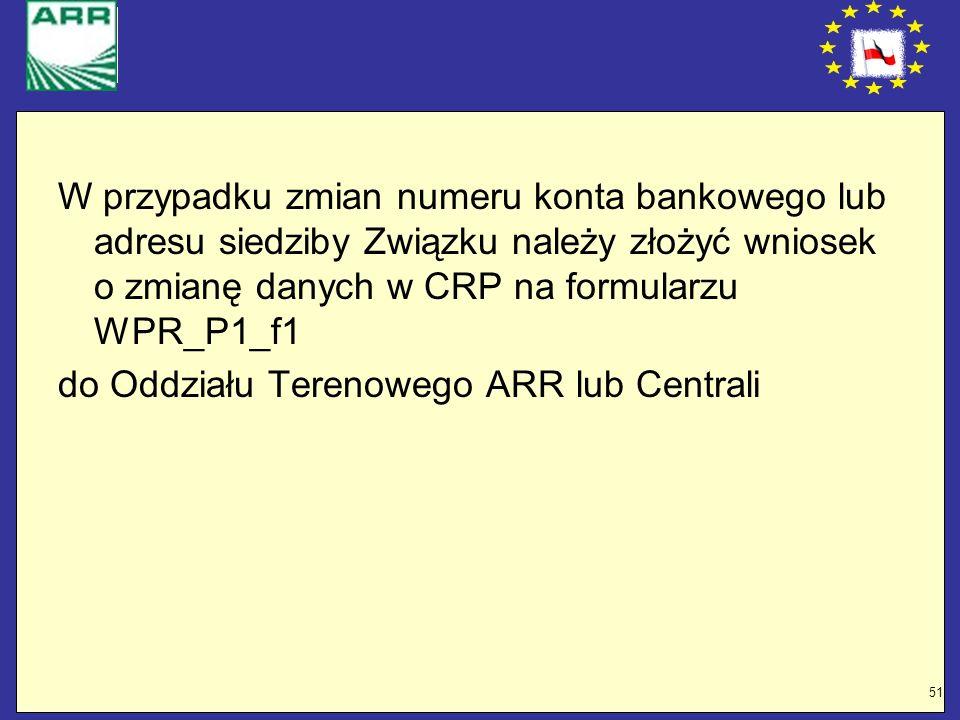 51 W przypadku zmian numeru konta bankowego lub adresu siedziby Związku należy złożyć wniosek o zmianę danych w CRP na formularzu WPR_P1_f1 do Oddział