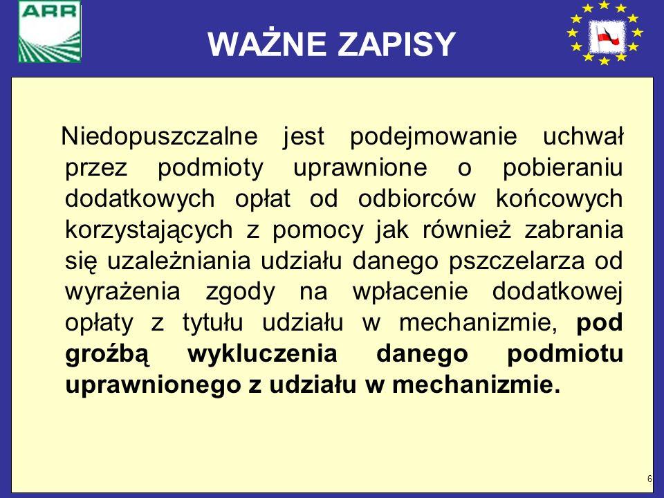 27 Zakup lawet Odbiorcami końcowymi przyczep (lawet) mogą być jedynie gospodarstwa pasieczne posiadające weterynaryjny numer identyfikacyjny lub wpisane do rejestru powiatowego lekarza weterynarii, które posiadają co najmniej 30 rodzin pszczelich.