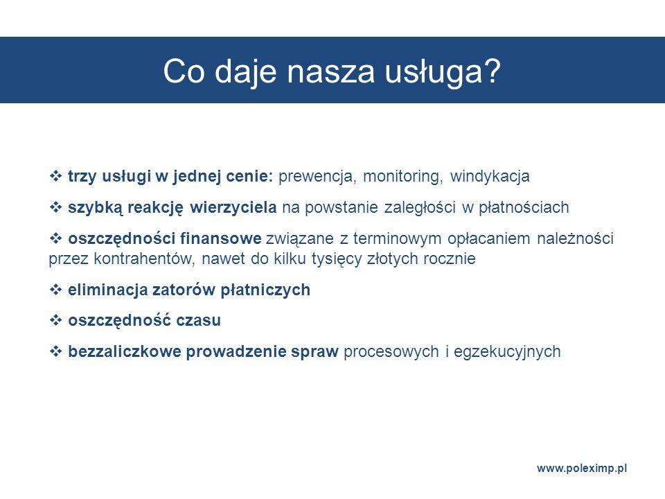 Co daje nasza usługa? www.poleximp.pl trzy usługi w jednej cenie: prewencja, monitoring, windykacja szybką reakcję wierzyciela na powstanie zaległości