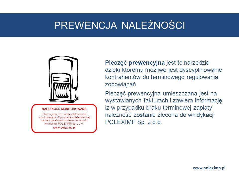 PREWENCJA NALEŻNOŚCI www.poleximp.pl NALEŻNOŚĆ MONITOROWANA Informujemy, że niniejsza faktura jest monitorowana. W przypadku nieterminowej zapłaty nal