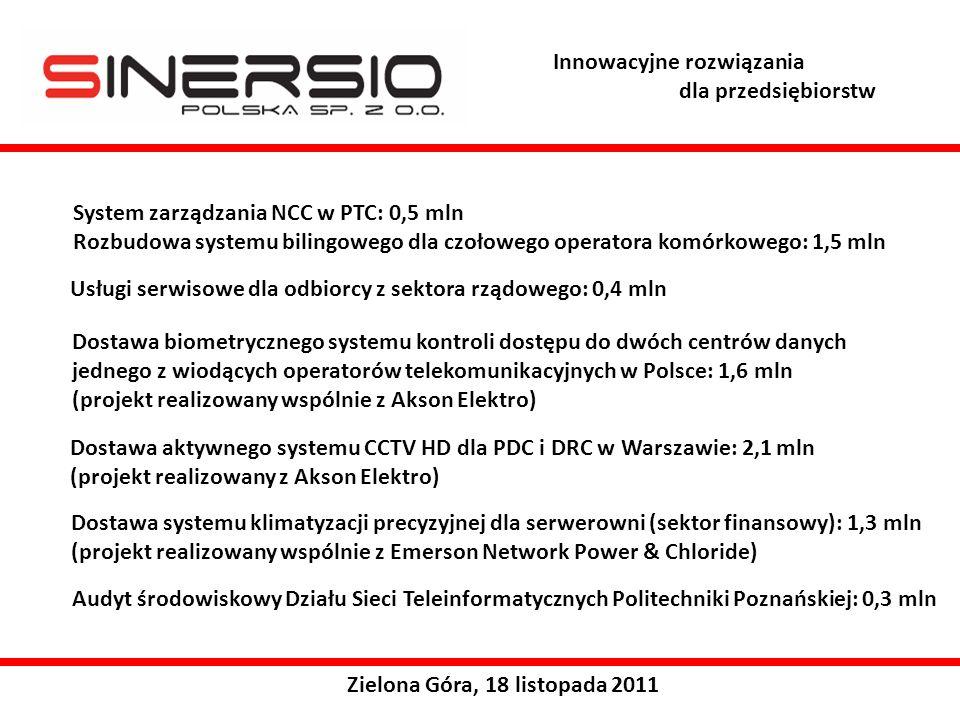 System zarządzania NCC w PTC: 0,5 mln Rozbudowa systemu bilingowego dla czołowego operatora komórkowego: 1,5 mln Zielona Góra, 18 listopada 2011 Usługi serwisowe dla odbiorcy z sektora rządowego: 0,4 mln Dostawa biometrycznego systemu kontroli dostępu do dwóch centrów danych jednego z wiodących operatorów telekomunikacyjnych w Polsce: 1,6 mln (projekt realizowany wspólnie z Akson Elektro) Dostawa aktywnego systemu CCTV HD dla PDC i DRC w Warszawie: 2,1 mln (projekt realizowany z Akson Elektro) Dostawa systemu klimatyzacji precyzyjnej dla serwerowni (sektor finansowy): 1,3 mln (projekt realizowany wspólnie z Emerson Network Power & Chloride) Audyt środowiskowy Działu Sieci Teleinformatycznych Politechniki Poznańskiej: 0,3 mln Innowacyjne rozwiązania dla przedsiębiorstw
