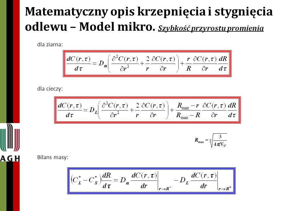 Matematyczny opis krzepnięcia i stygnięcia odlewu – Model mikro.