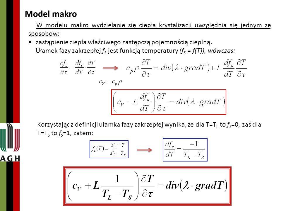 Matematyczny opis krzepnięcia i stygnięcia odlewu – Model mikro G G
