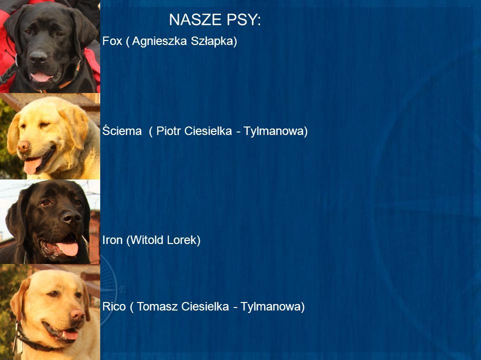 NASZE PSY: Fox ( Agnieszka Szłapka) Iron (Witold Lorek) Ściema ( Piotr Ciesielka - Tylmanowa) Rico ( Tomasz Ciesielka - Tylmanowa)