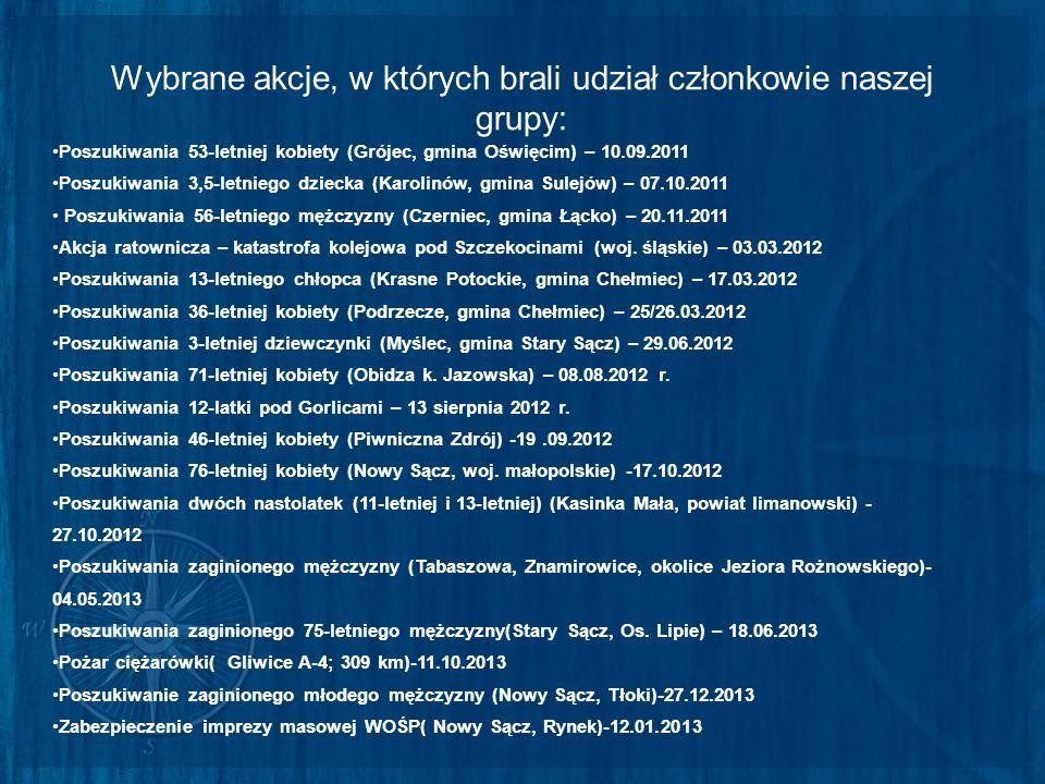 Wybrane akcje, w których brali udział członkowie naszej grupy: Poszukiwania 53-letniej kobiety (Grójec, gmina Oświęcim) – 10.09.2011 Poszukiwania 3,5-