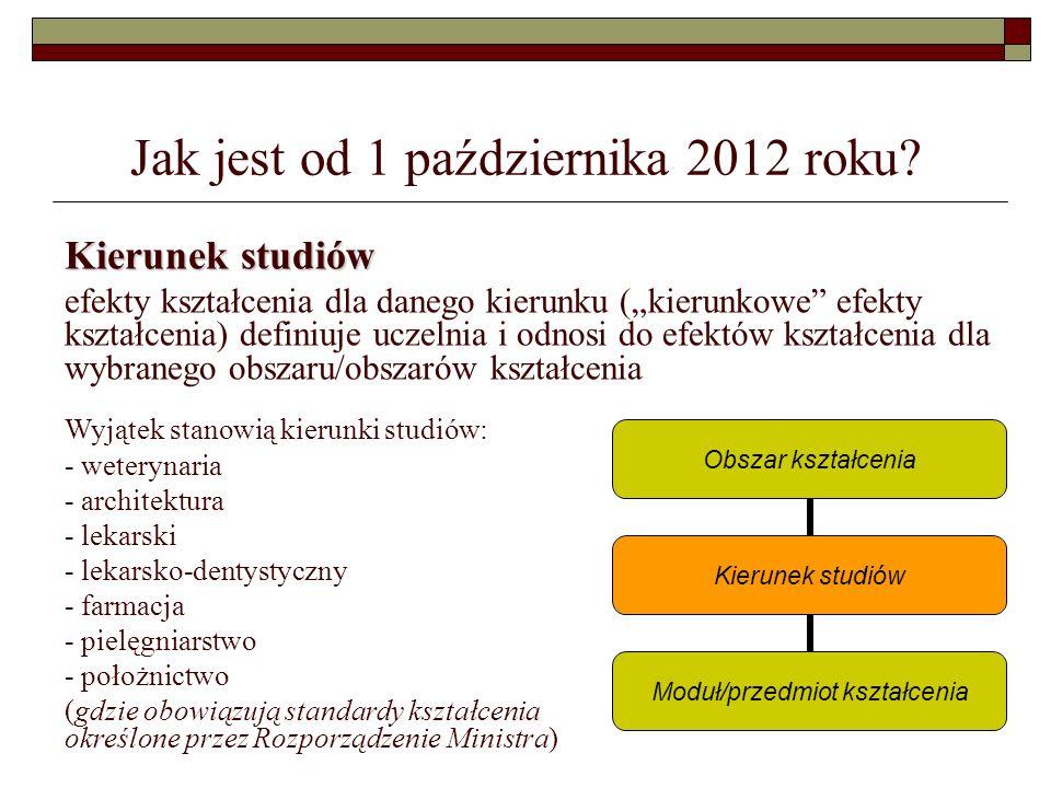 Jak jest od 1 października 2012 roku? Kierunek studiów efekty kształcenia dla danego kierunku (kierunkowe efekty kształcenia) definiuje uczelnia i odn