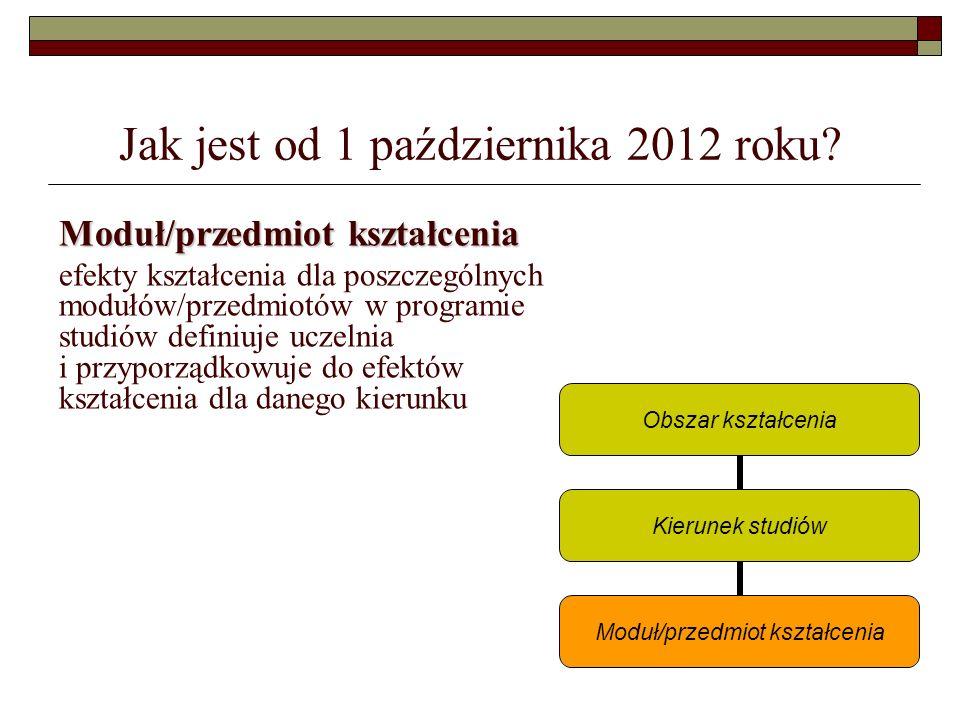 Jak jest od 1 października 2012 roku? Moduł/przedmiot kształcenia efekty kształcenia dla poszczególnych modułów/przedmiotów w programie studiów defini