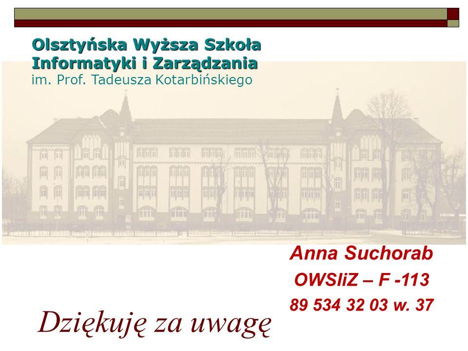 Olsztyńska Wyższa Szkoła Informatyki i Zarządzania im. Prof. Tadeusza Kotarbińskiego Dziękuję za uwagę Anna Suchorab OWSIiZ – F -113 89 534 32 03 w. 3
