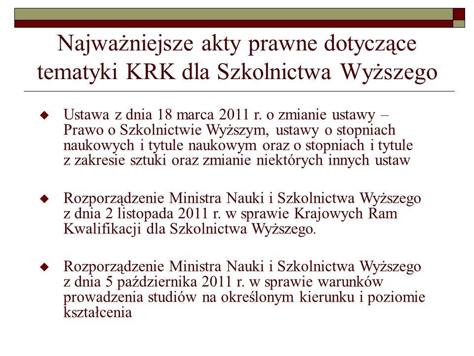 Najważniejsze akty prawne dotyczące tematyki KRK dla Szkolnictwa Wyższego Ustawa z dnia 18 marca 2011 r. o zmianie ustawy – Prawo o Szkolnictwie Wyższ