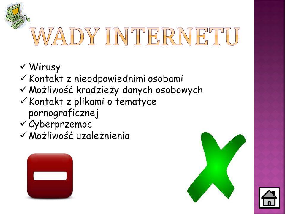 Wirusy Kontakt z nieodpowiednimi osobami Możliwość kradzieży danych osobowych Kontakt z plikami o tematyce pornograficznej Cyberprzemoc Możliwość uzal