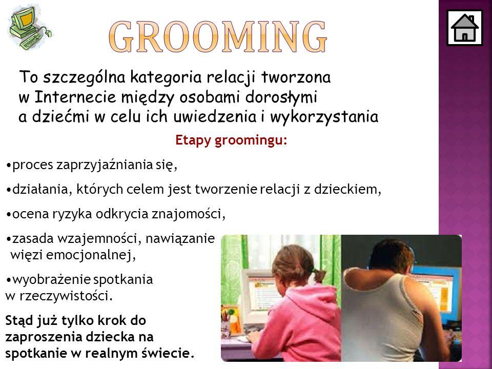 To szczególna kategoria relacji tworzona w Internecie między osobami dorosłymi a dziećmi w celu ich uwiedzenia i wykorzystania Etapy groomingu: proces