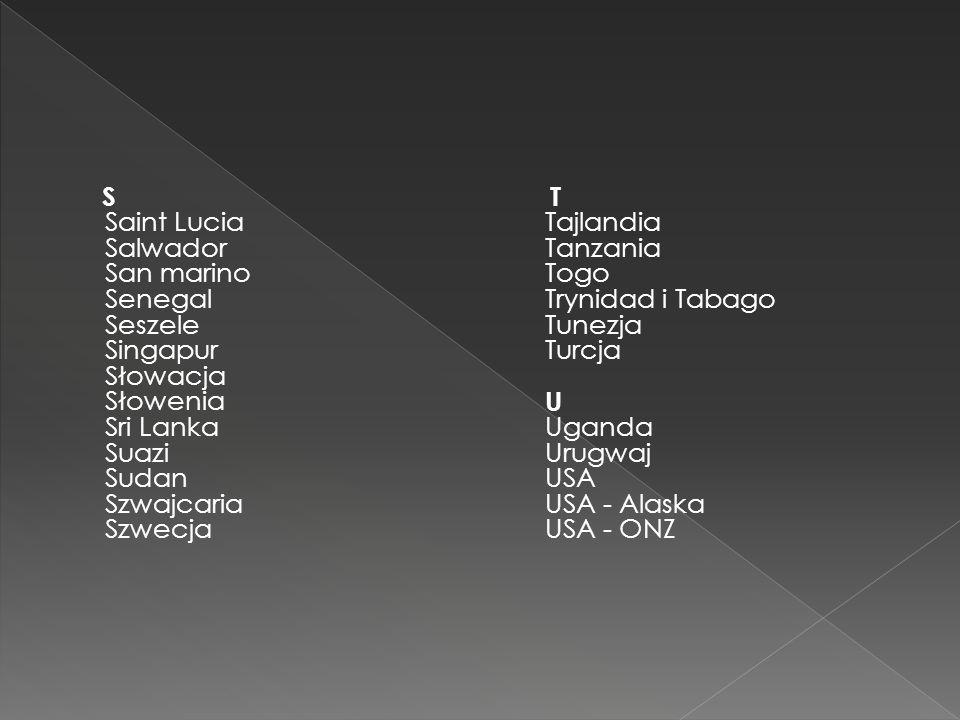 W Wenezuela Węgry Wielka Brytania Włochy Wybrzeże Kości Słoniowej Wyspa Książęca Wyspy Bahama Wyspy Salomona Wyspy św.