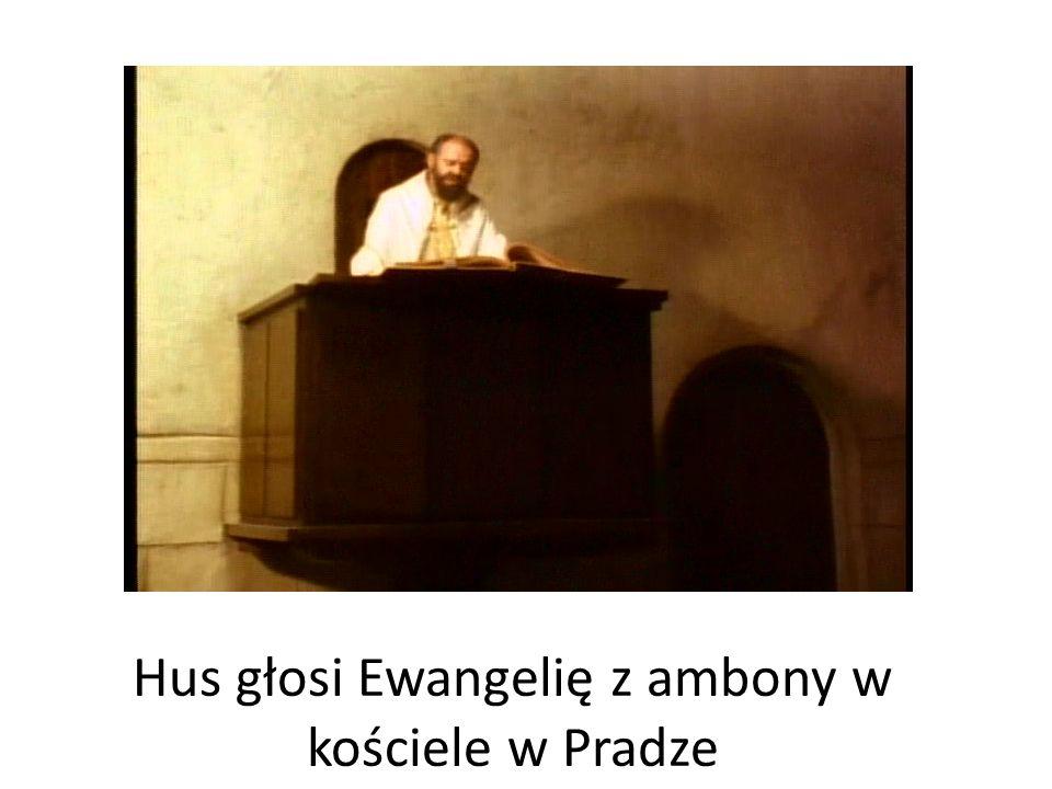 Hus głosi Ewangelię z ambony w kościele w Pradze