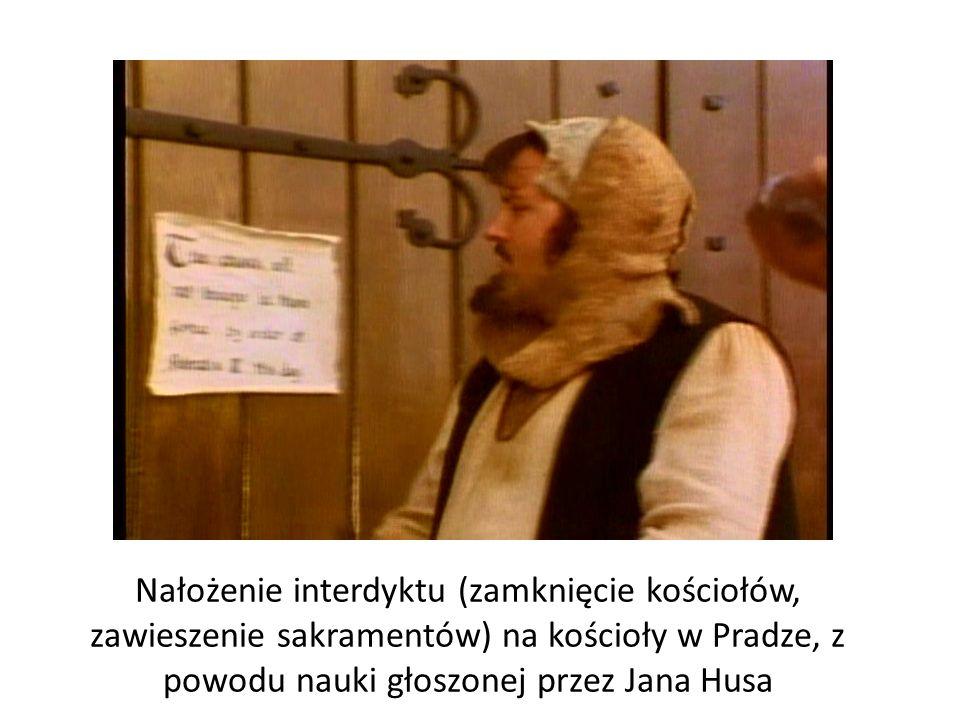 Nałożenie interdyktu (zamknięcie kościołów, zawieszenie sakramentów) na kościoły w Pradze, z powodu nauki głoszonej przez Jana Husa