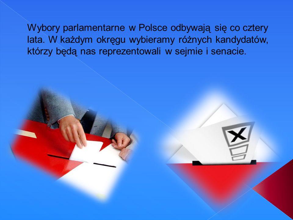 Wybory parlamentarne w Polsce odbywają się co cztery lata. W każdym okręgu wybieramy różnych kandydatów, którzy będą nas reprezentowali w sejmie i sen